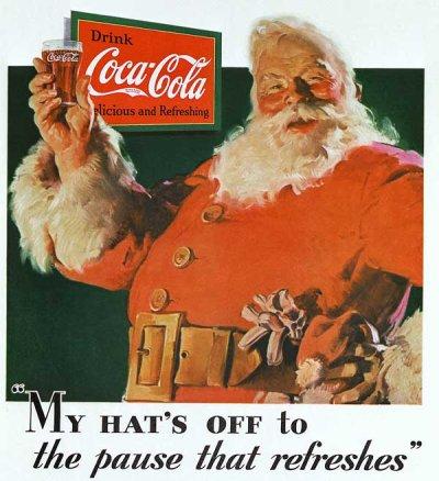 A primeira ilustração oficial da Coca-Cola usando o Papai Noel.